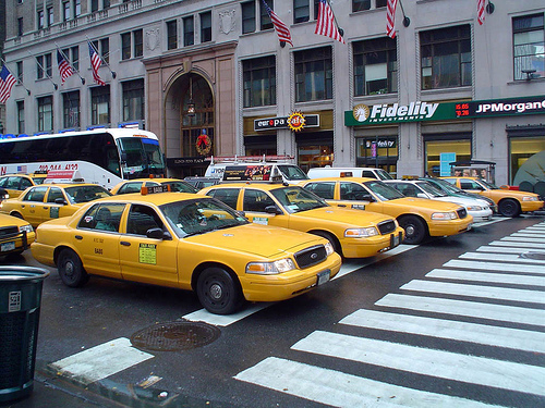 new york straat met taxi